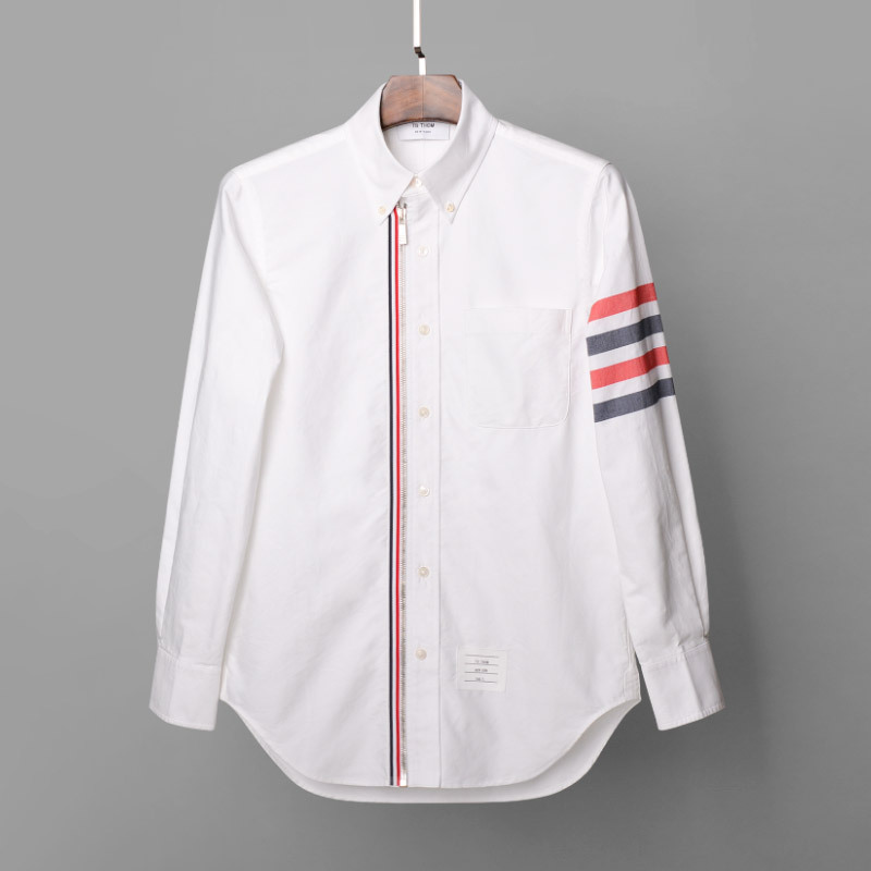 Men's Fashion Long Sleeve With Tri-color Webbing Slim Fit Zipper Print Casual Shirt Men Striped White Shirts Male