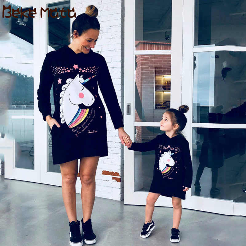 Mother Daughter Dresses Mommy And Me Clothes Unicorn Print Hood Family Look Mom And Daughter Clothes Autumn Family Outifts