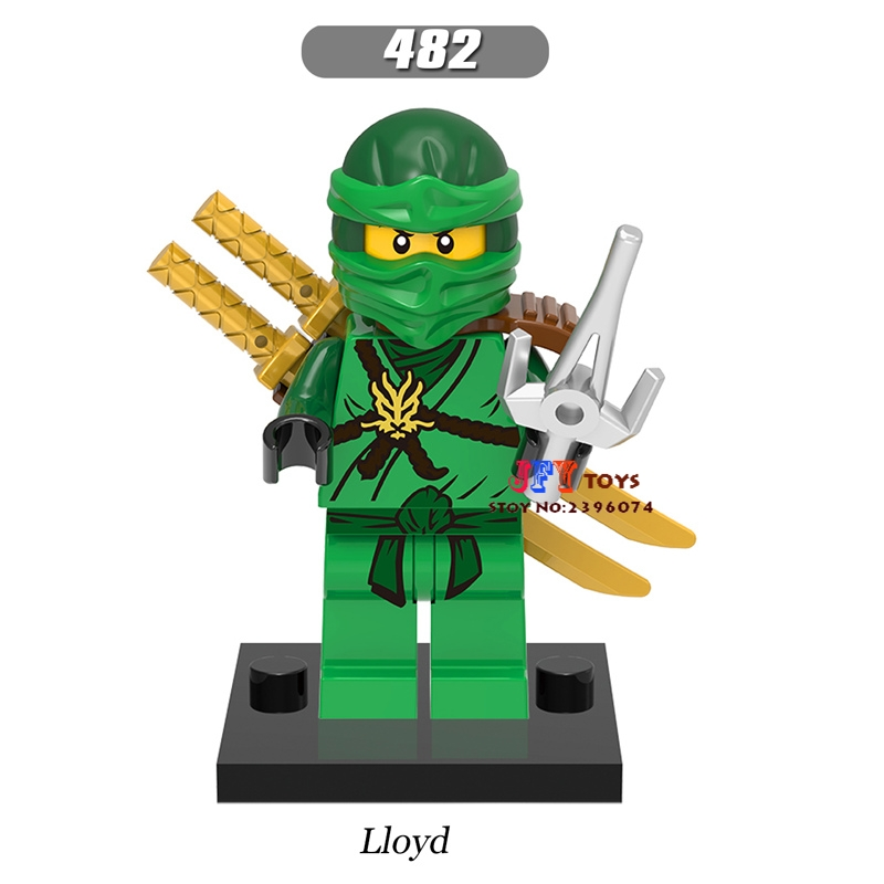 Single Super Hero Lloyd Green Gold Sword Building Blocks Models Bricks Hobby Toys For Children Kits Gift