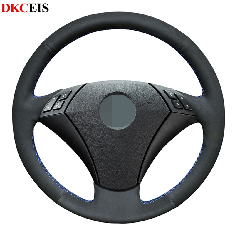 DIY Hand-stitched Black Soft Suede Car Steering Wheel Cover for <font><b>BMW</b></font> 535 523 530 525 523li 520li <font><b>545i</b></font> <font><b>E60</b></font> image