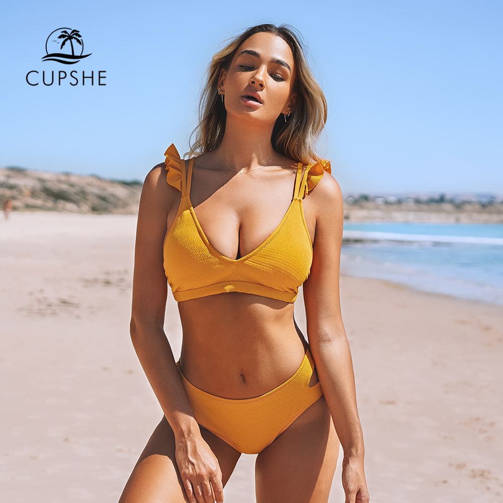 CUPSHE Solid Yellow Ruffled Mid-waisted Bikini Sets Sexy Cut Out Swimsuit Two Pieces Swimwear Women 2020 Beach Bathing Suits