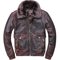 HARLEY DAMSON Vintage Brown Men USAF Pilot Leather Jacket Wool Collar Plus Size XXXXXL Genuine Cowhide Military Aviator Coat