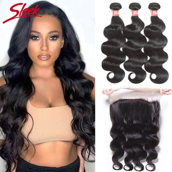 Sleek 360 Lace Frontal with Bundle Body Wave Peruvian Human Hair Weave 3 Bundles with Frontal Closure Non Remy Free Shipping image