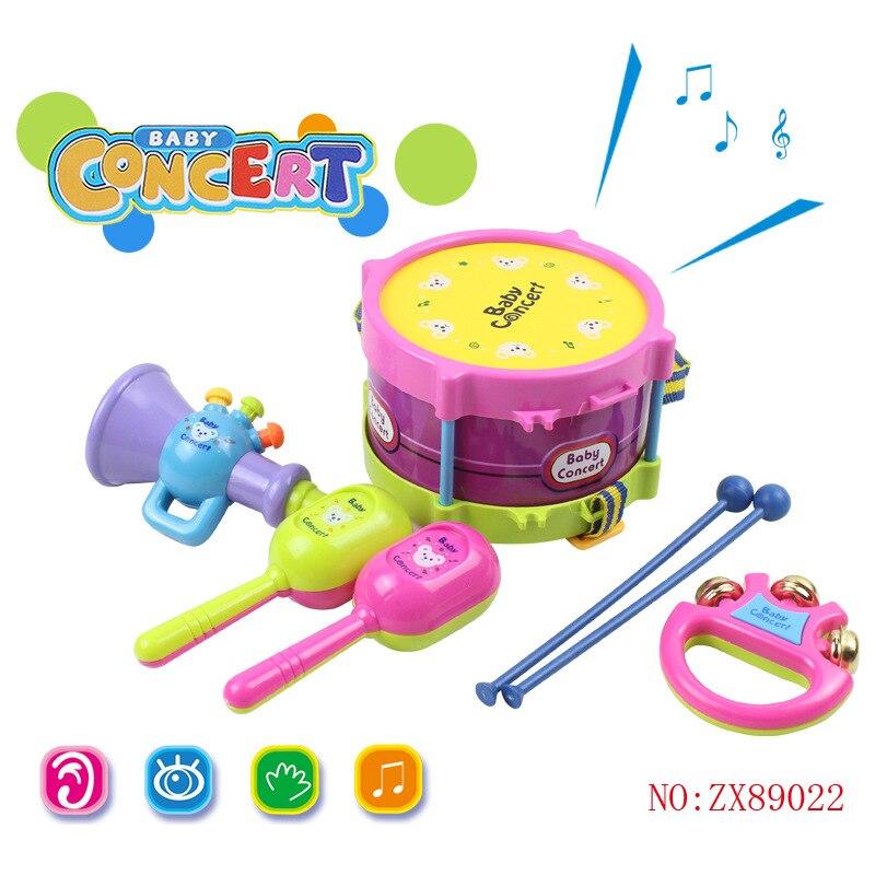 Children Music Sound And Light Tambourine Infants Music Toy Jazz Drum Set Baby Instrument Combination Rattle Wholesale