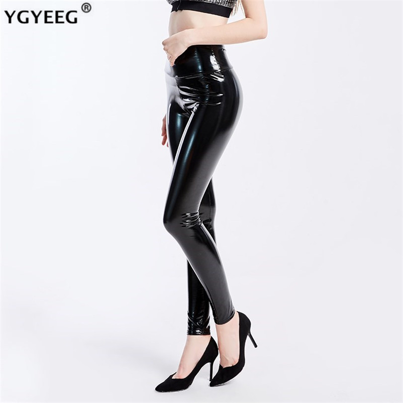 YGYEEG Plus Size Leggings Leather Leggings Women High Waist Black Legging PU Leather Legging Fashion Leather Pants Women XXXL