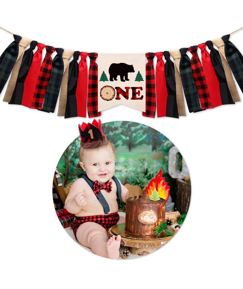 Party Lumberjack Theme Birthday Dining Chair Flag Set Baby Birthday Party Decoration