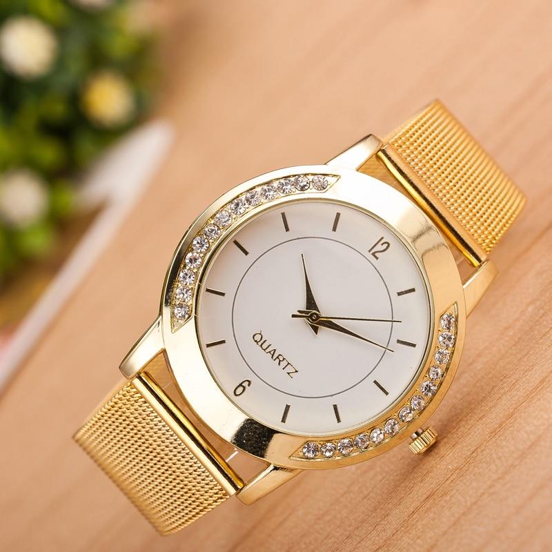 Designer Watch High Quality  Women Crystal Golden Stainless Steel Analog Quartz Wrist Watch Gold Silver Watch Kol Saatleri 2019