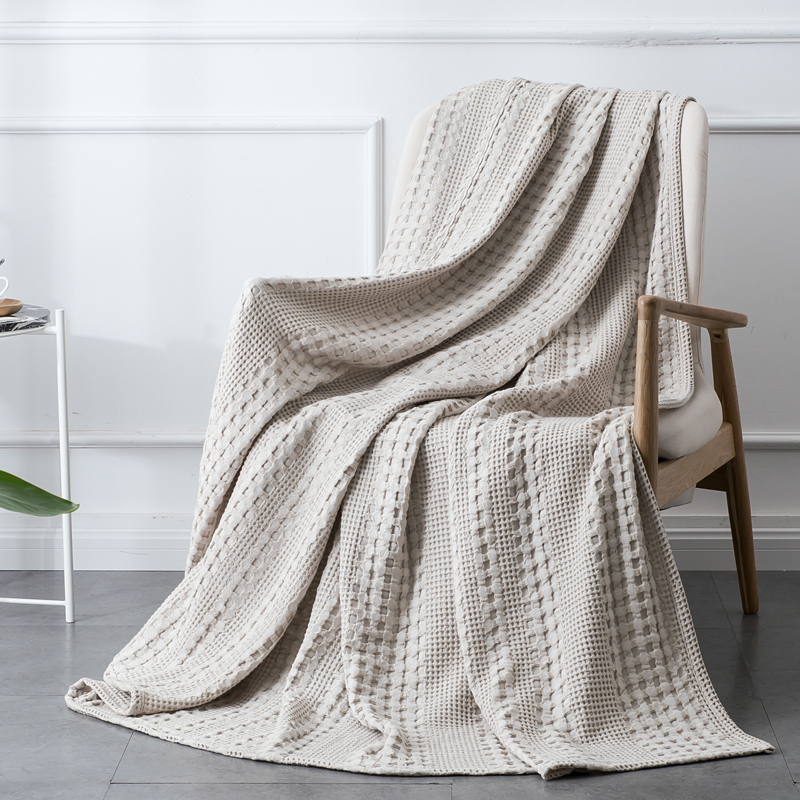 PHF Cotton Waffle Woven Knit Blanket Home Throws For Sofa Cover Decor Breathable Comfort Queen King Twin White Khaki Dark Grey