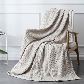 PHF tekstylia domowe wafel bawełniany tkany dzianinowy koc rzuty domowe na sofę dekoracyjne nakładki narzuta na łóżko łóżko dla nastolatków tanie i dobre opinie 100 Cotton Dyeing 200tc Żakardowe Dzianiny Podróży Pościel white khaki dark grey 1 Pack Rectangle square Adults Mechanical Wash