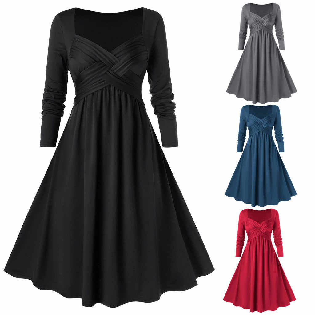 New Fashion Women Winter Dress Casual Large Size Solid Color Long Sleeve Chest Cross V-neck Dress High Waist Dress