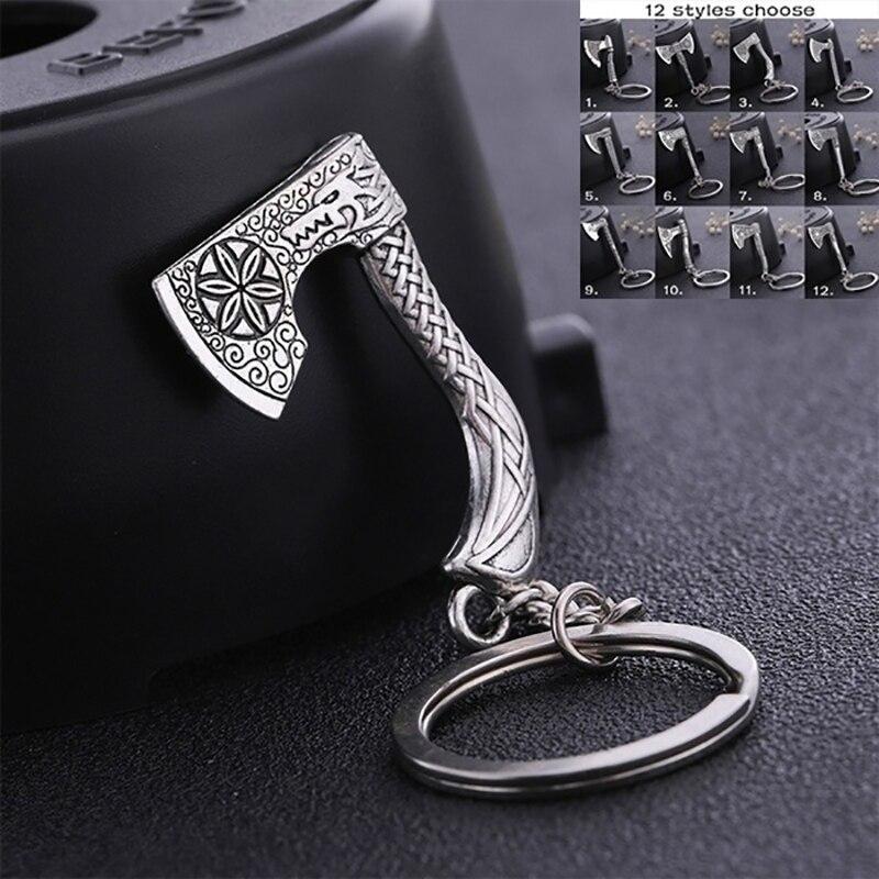 Teamer Vintage Valknut Triquetra hache pendentif porte-clés Antique breloque porte-clés boussole celtique noeud Wicca Viking bijoux pour sac