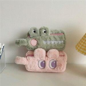 SIXONE Ins, плюшевый чехол-карандаш с кроликом, крокодилом и большими глазами, милая сумочка-косметичка для девочек, Большая вместительная сумка...