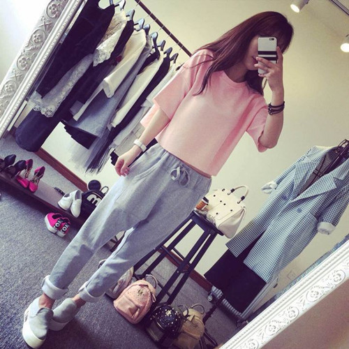 Korean-style Pink Top + Casual Fashion Drawstring Harem Pants Sub-Sports WOMEN'S Suit 5-30