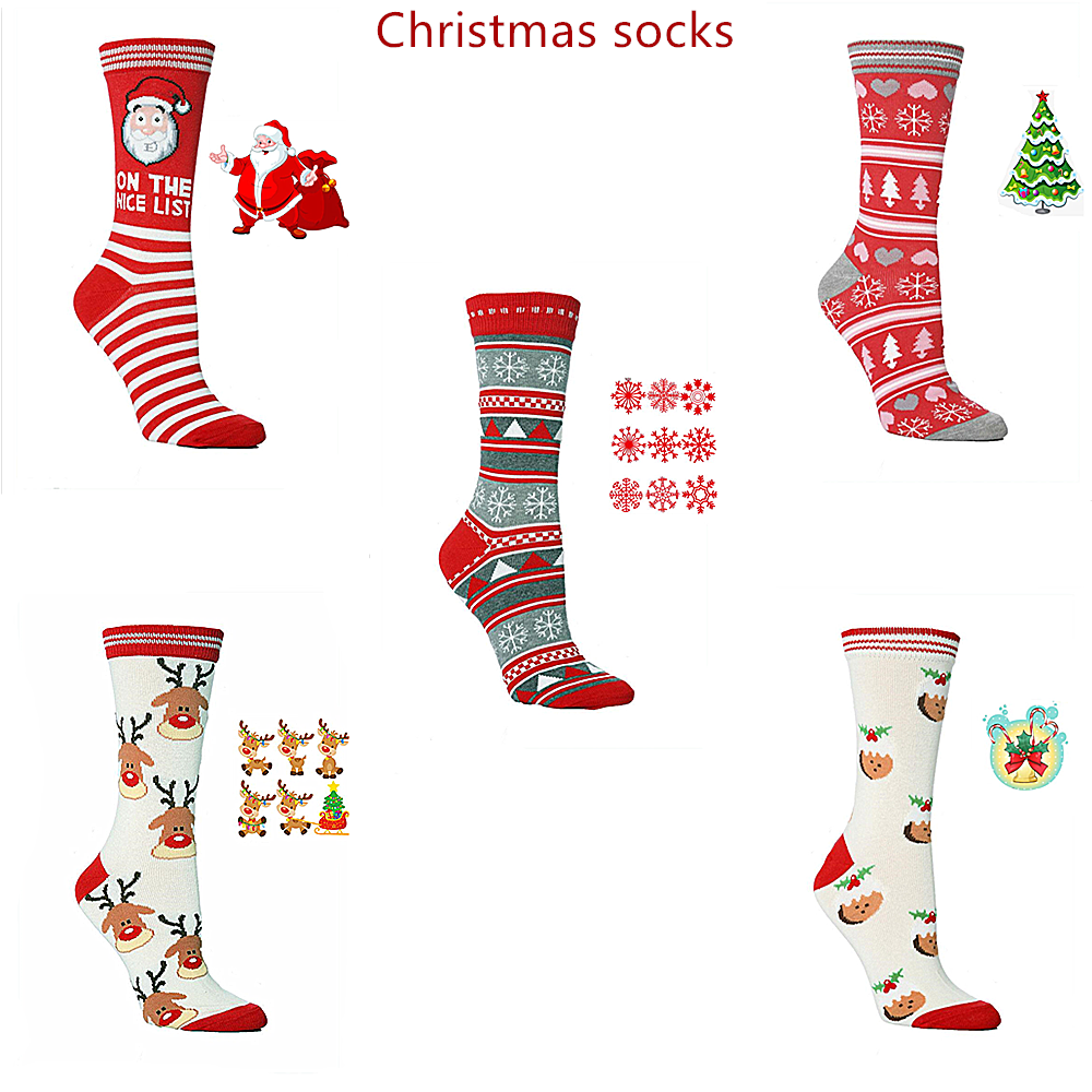2019 Fall Winter Fashion Christmas   Socks   Funny Elk Santa Snowflakes Bells Christmas Tree Pattern   Socks   Happy Warm   Socks
