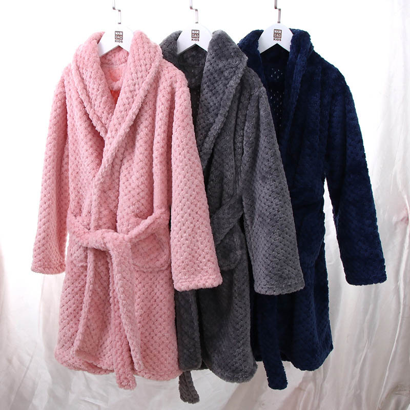 Long Sleeve Kimono Unisex Adult Parent-child Home Robe Warm Winter Thick Boys Girls Family Bathrobe  Homewear Home Service