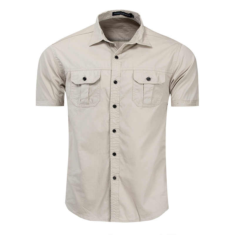 Fredd Marshall Nieuwe Mens Militaire Shirt Mannen Korte Mouw Cargo Shirts 100% Katoen Casual Solid Mannelijke Pocket Werk Shirt MCS093