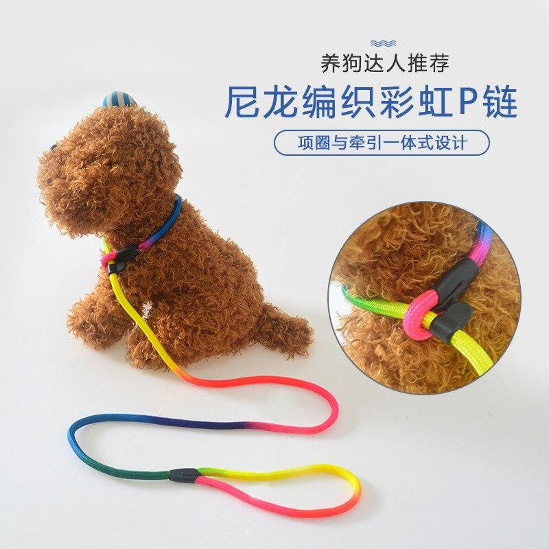 Pet Traction Rope Neck Ring P Pendant Dog Pendant Sub-Dog Leash Dog Training Large And Medium Small Dogs Traction Belt Light Tra