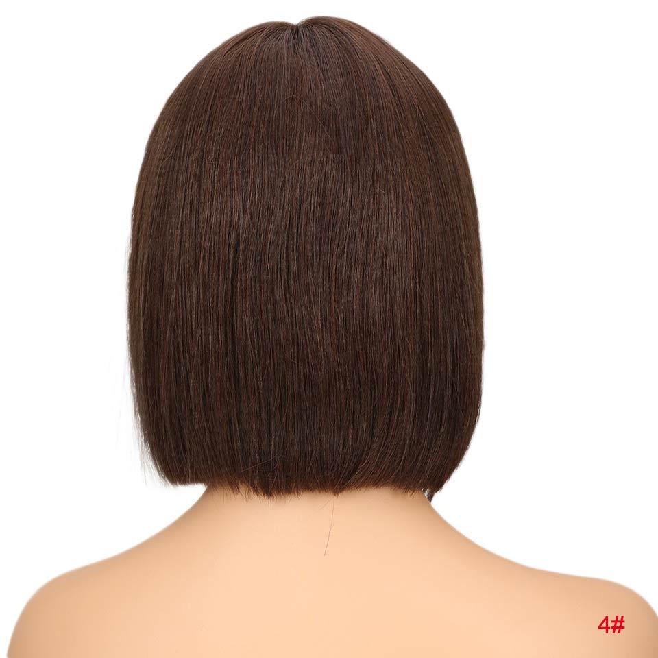 """Rebecca bob парики на кружеве для черных женщин перуанские короткие парики из человеческих волос Омбре человеческие волосы парик Средняя часть 1"""" - Цвет волос: #4"""