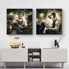 Abstract Monkey Drinking Wine and Dog Playing Piano Posters and Prints Canvas Paintings Wall Art Pictures for Living Room Decor