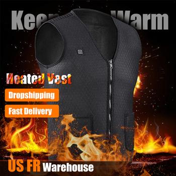 Mężczyźni kobiety Outdoor USB ogrzewanie na podczerwień kamizelka zimowa elastyczna elektryczna odzież termiczna kamizelka do uprawiania turystyki pieszej tanie i dobre opinie COTTON Termiczne heating vest Pasuje mniejszy niż zwykle proszę sprawdzić ten sklep jest dobór informacji Warmthtm