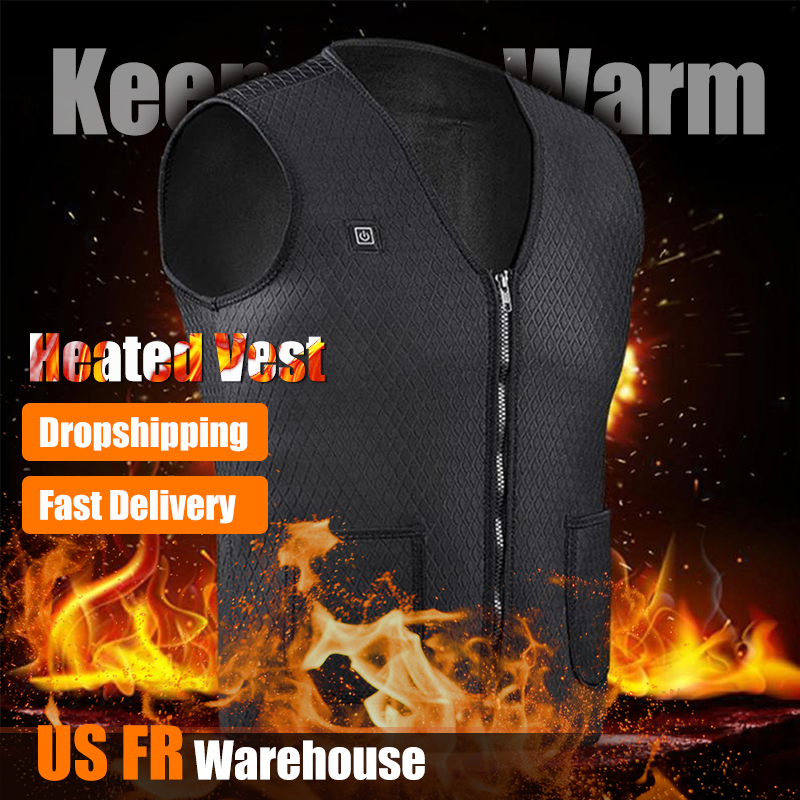 Men Women Outdoor USB Infrared Heating Vest Jacket Winter Flexible Electric Thermal Clothing Waistcoat For Sports Hiking