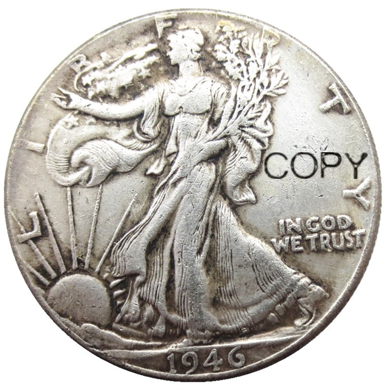 Us 1946 Psd Walking Liberty Half Dollar Silver Plated Copy Coins