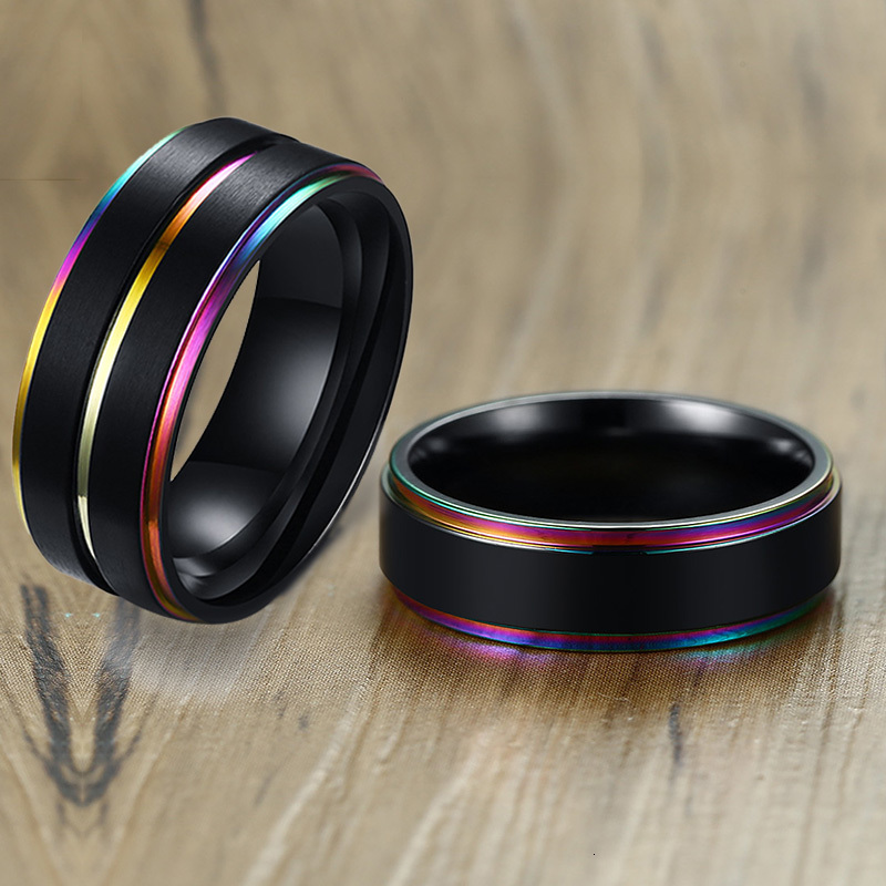 Vnox Black Stainless Steel Basic Ring For Men With Rainbow Line Classic Male Wedding Band Multi Color Jewelry Fraternal Rings