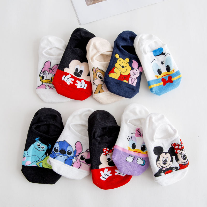 Disney Korea Summer Women Socks Cute Animal Cartoon Mouse Bear Ankle Socks Thin Cotton Invisible Sock Slippers Funny Boat Socks