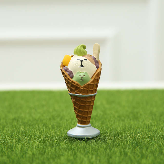 Japanese Food Simulation Ice Cream Miniature Mini Animal Cute Bear Family Collectible Gift Home Decoration Accessories Food Toy 6