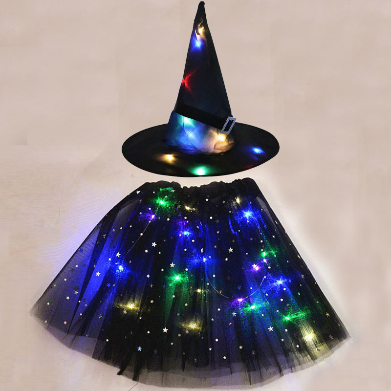 LED Glowing Lights Witch Hat With Skirt Halloween Costume for Women Kids Girls Wizard Cosplay Props Party Christmas New Year
