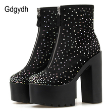 Gdgydh 2019 New Autumn High Heels Boots Women Sexy Diamond Ankle boots Female For Party Nightclub With Zipper Drop Shipping