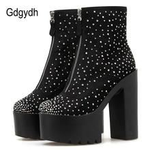 Gdgydh 2019 جديد الخريف عالية الكعب أحذية النساء مثير الماس حذاء من الجلد الإناث للحزب ملهى ليلي مع زيبر قطرة الشحن