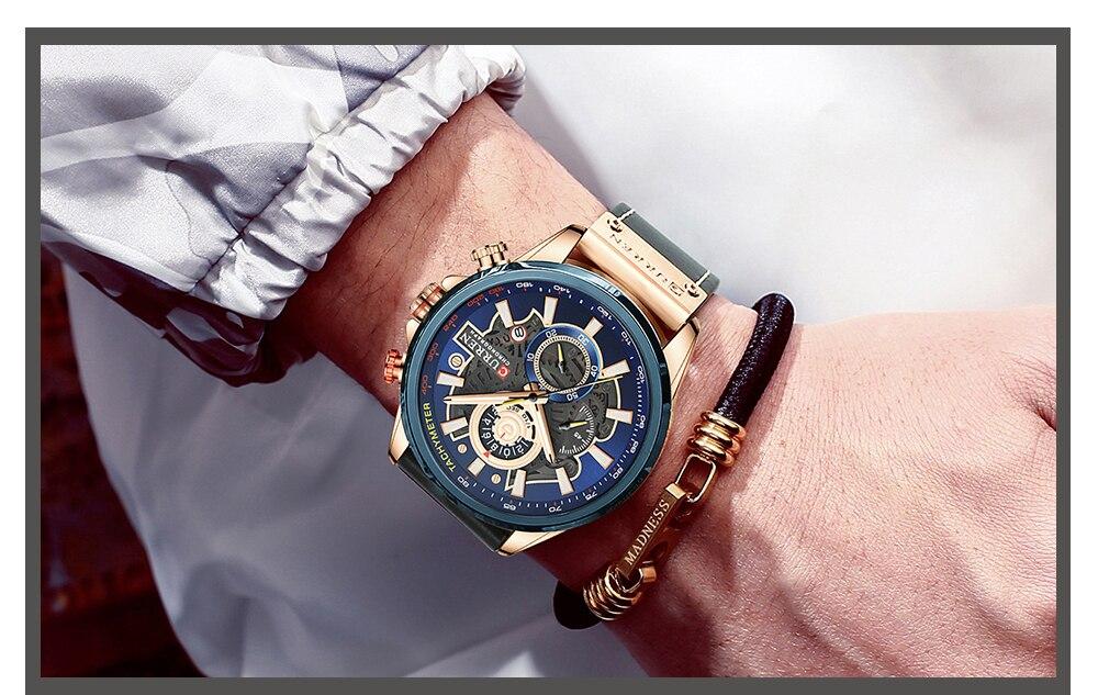 de couro esporte quartzo relógio de pulso
