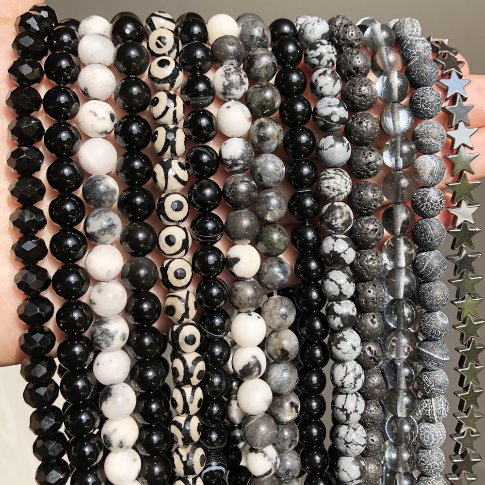 Natural Stone Black Agates Hematite Lava Obsidian Beads Round Loose Bead For Jewelry Making Diy Bracelet Accessory 4/6/8/10/12mm