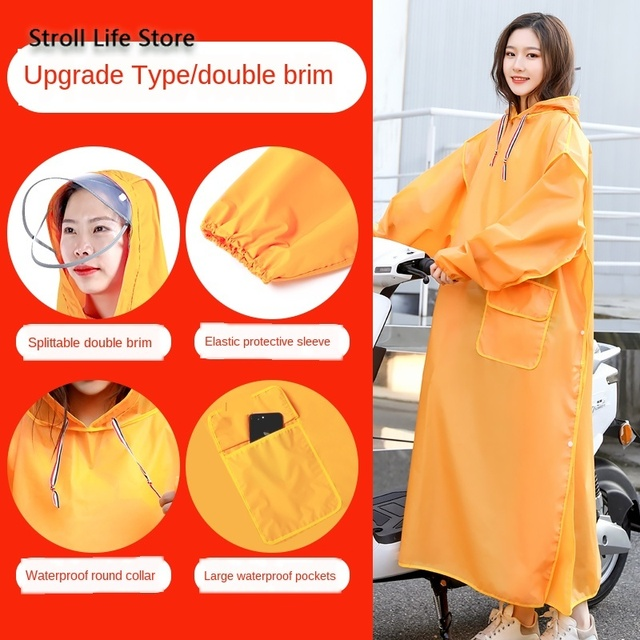 Yellow Long Raincoat Electric Motorcycle Rain Poncho Transparent Rain Coat Increase Thick Waterproof Suit Adult Impermeable Gift 2