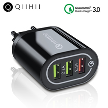 QIIHII 3 Port Usb Charger Quick Charge 3.0 For iphone 6 7 8 X XS XR Wall Xiaomi Huawei Samsung Fast