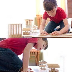 Image 5 - Ahşap inşaat yapı modeli tuğla blokları çocuk zeka geliştiren oyuncak 100 ahşap pano DIY Set oyun arkadaş çocuklar hediye
