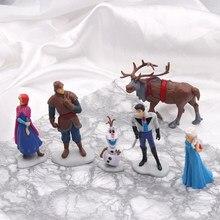 Disney 6 sztuk/zestaw mrożone Anime księżniczka pcv figurka księżniczka elza Anna Kristoff Sven Olaf Model z pcv zabawki dla dzieci urodziny