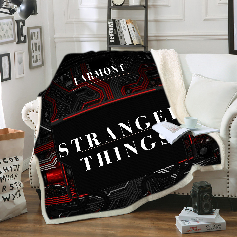 New Horror Movie Stranger-Things Premium Throw Blanket Print on Demand Sherpa Blankets for Sofa Customized DIY Plush Thin Quilt image