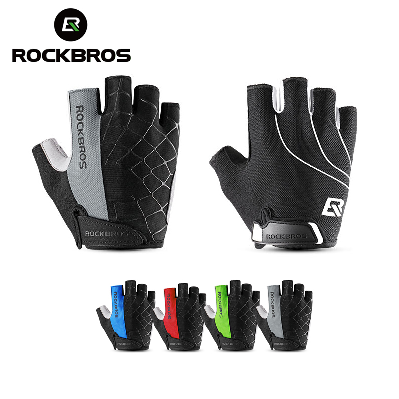 ROCKBROS Cycling Gloves Half Finger Bike Gloves Shockproof Anti-Slip Gloves Bicycle Riding Gloves Anti Slip Summer Sports