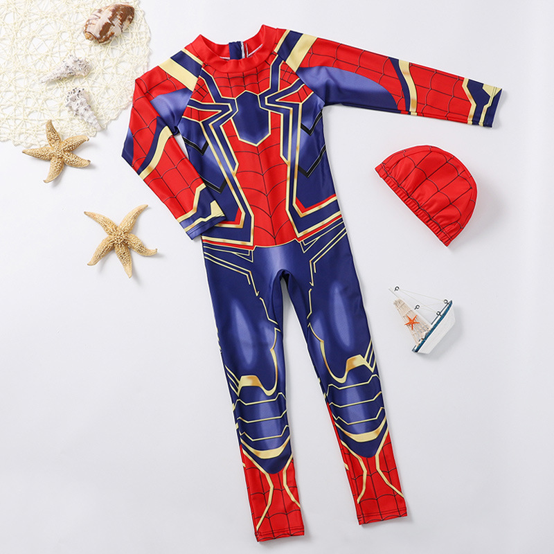 KID'S Swimwear BOY'S-Child Big Boy One-piece Long Sleeve Trousers Sun-resistant Diving Suit Jellyfish Service Hot Springs Swimwe