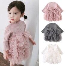 Коллекция года, весенне-осеннее детское трикотажное платье в Корейском стиле с длинными рукавами и бантом для девочек детская од