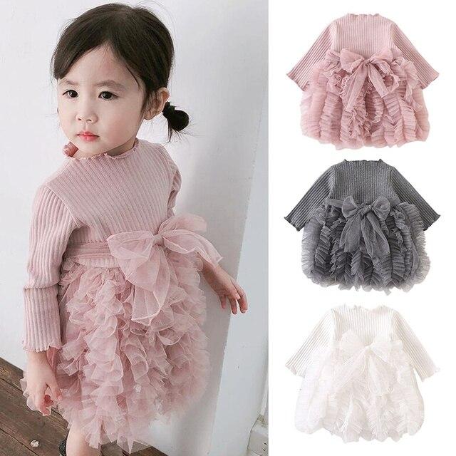 Baby girl clothes baby girl long sleeve stitching mesh tutu princess dress baby girl sweet cute baby girl dress 1