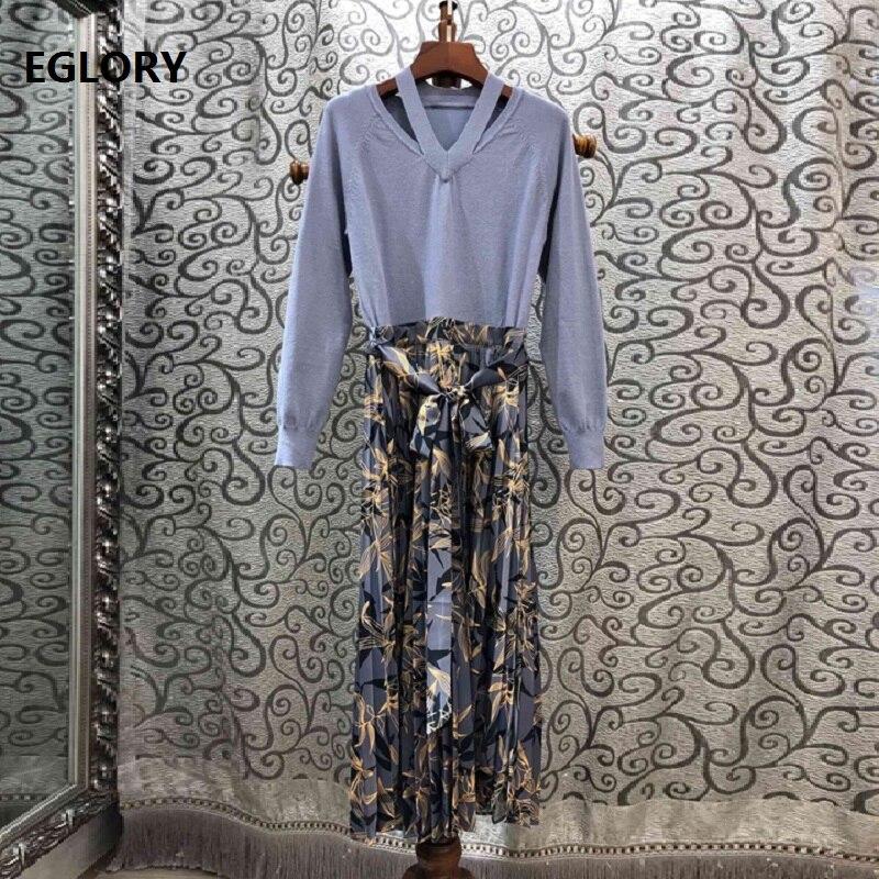 Robe une pièce 2019 automne hiver décontracté robe tricotée femmes élégant imprimé fleuri Patchwork à manches longues mi-mollet robe pull