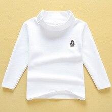 Childrens Long-sleeved T-shirt, Half-high Collar, Plain Bottom Shirt, Boysand Girls Cotton Elasticity
