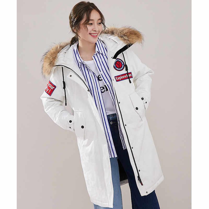 Mulher jaqueta para baixo com capuz casacos de inverno coreano casaco de pele de guaxinim gola esporte parka canadá parkas mujer 2020 my1531 s