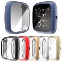 Flexible Bildschirm Protector TPU Fall für Fitbit Versa 2/3/Gefühl Uhr Abdeckung Matte Stoßstange Scratch-beständig leichte Shell