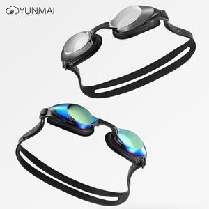 Image 1 - Yunmai yüzme gözlükleri seti HD anti sis burun güdük kulaklıklar silikon yüzücü gözlükleri siyah altın kiti
