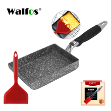 Walfos Square Non-Stick Fried Eggs Pans Aluminium Alloy Japanese-Style Frying Pan Fried Eggs Pans Maker Breakfast Pot Mini Cook