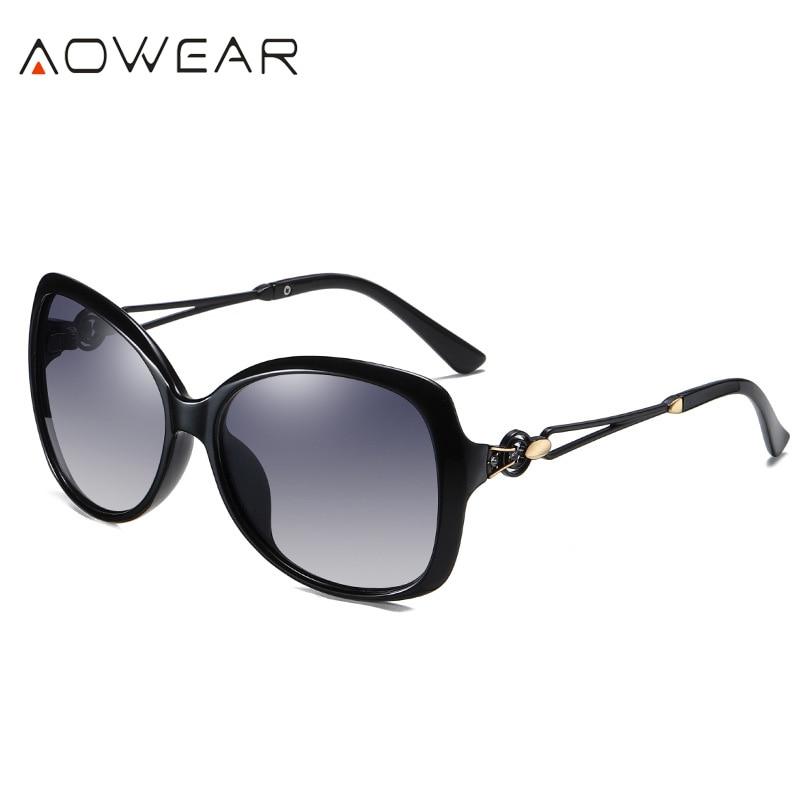 C2 Black BLACK AOWEAR 2020 Oversized Retro Women s Sunglasses Women Polarized Luxury Brand Gradient Shades Sun Glasses Lady